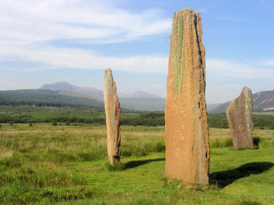 A view of Machrie standing stones with Goatfell