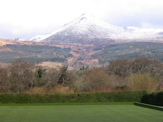 A snow-capped Goatfell from Brodick.