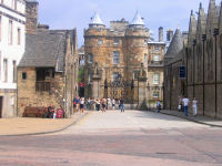 Entrance to Palace of Holyroodhouse in Edinburgh, Scotland