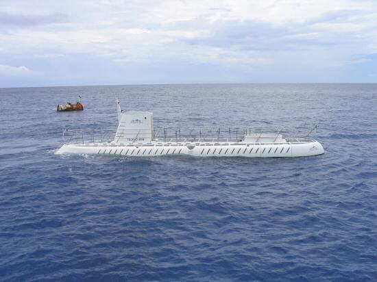A picture of the Atlantis mini submarine at George in Grand Cayman.