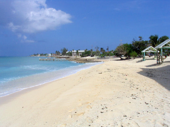 A picture of the beautiful sand beach at West Bay, Grand Cayman.