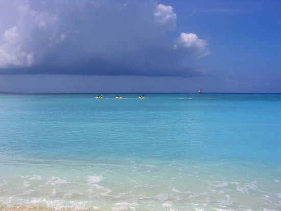 A picture of three jet skis at West Bay beach, Grand Cayman.
