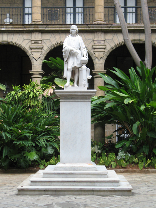 A picture of the statue of Christopher Columbus, Palacio de los Capitanes Generales, Havana, Cuba.
