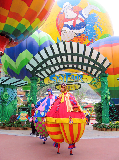 Picture of the clowns at Ocean Park in Hong Kong, China.