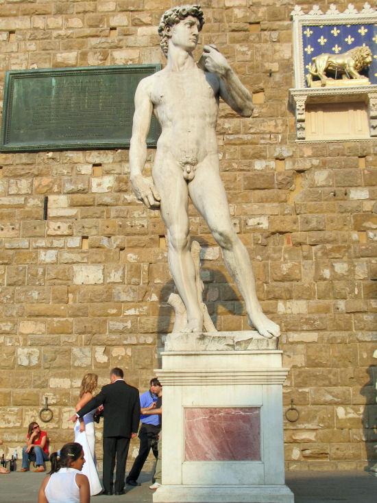 The Palazzo Vecchio, Michelangelo's David statue, Florence