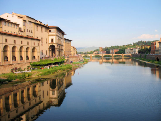 A view from the Ponte Vecchio bridge, Florence