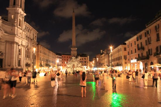 Tourists In Piazza Navona At Night   - Rome, Italy