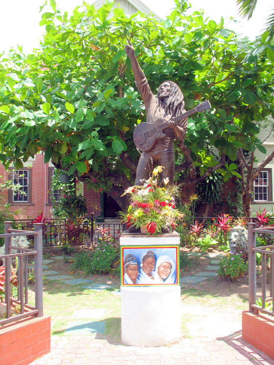 Picture of  The  Bob Marley Statue  in Kingston Jamaica  is shown on this page.