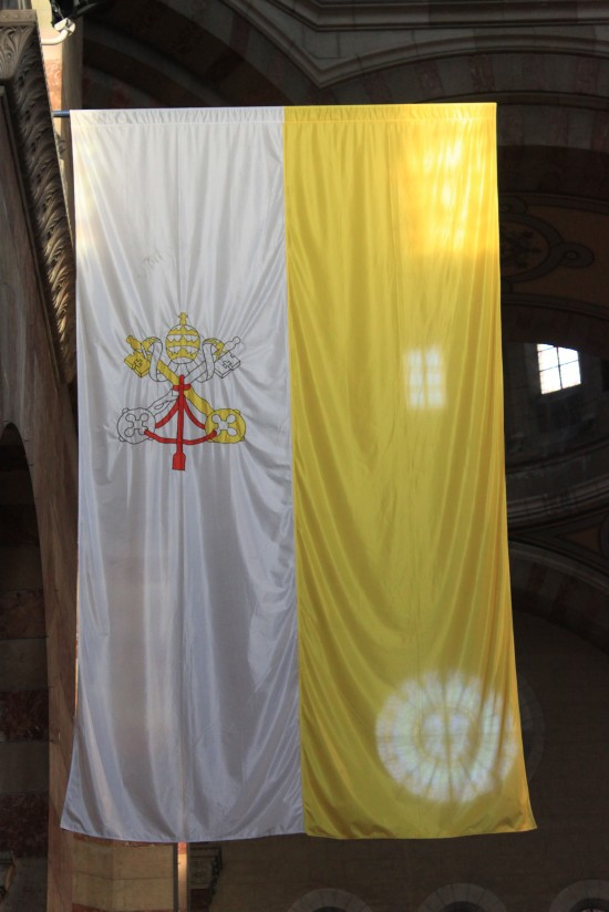 Vatican Flag Inside Marseille Cathederal France