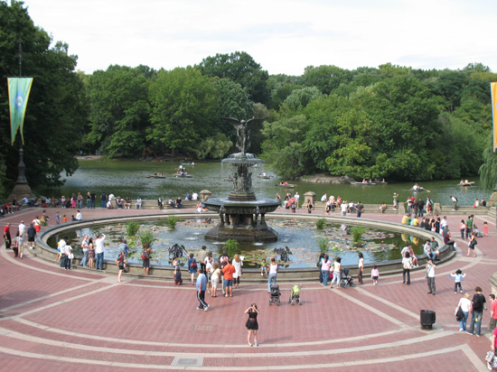 A Wide View of Bethesda Fountain and Terrace, Central Park, New York, USA is shown on this page.