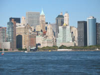 Manhattan Skyline from Statue of Liberty Boat, New York, USA