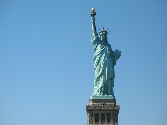 Picture of  The Statue of Liberty from the front, New York, USA is shown on this page.