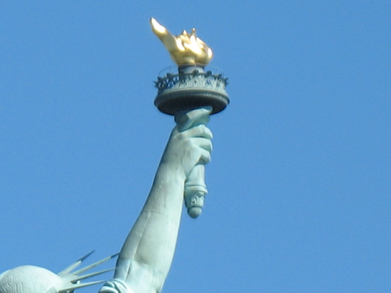 Picture of  The top of The Statue of Liberty, New York, USA is shown on this page.