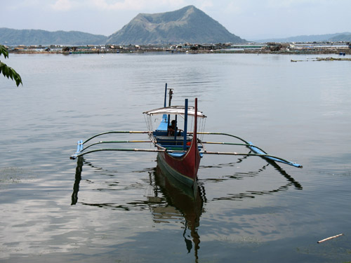 Picture of  a Catamaran at Lake Taal, The Philippines is shown on this page