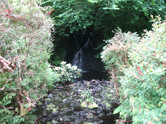 waterfall wide dunvagan castle gardens scotland picture