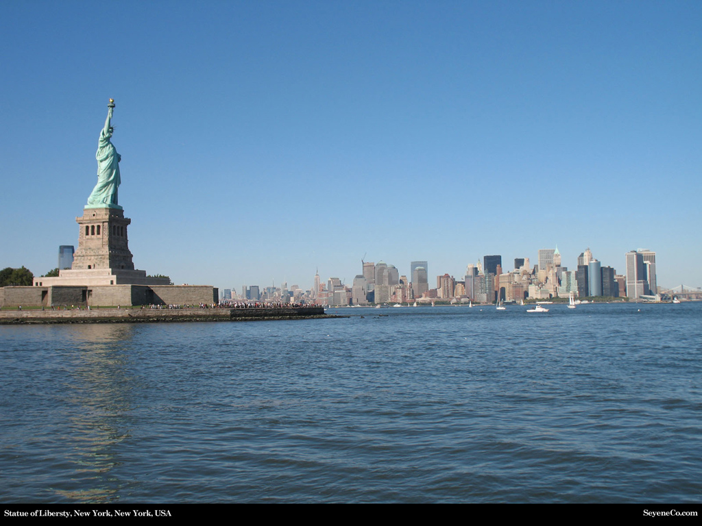 Statue of Liberty, Ellis Island, New York, New York, USA Desktop Wallpaper