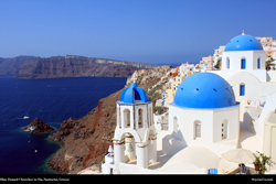 Free blue domed church, santorini, greece, Desktop Background Wallpaper