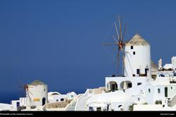 Free santorini windmills, Greece, Desktop Background Wallpaper